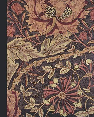 Vintage illustration journal: Unique designed dot grid Journal for the vintage illustration lover - Arts and craft movement - William Morris - Shades of red vintage honeysuckle
