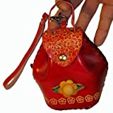 Real Leather Wristlet Cosmetics Holder, Jewelry Case, Romantic Red and Unique Designs., Bags Central