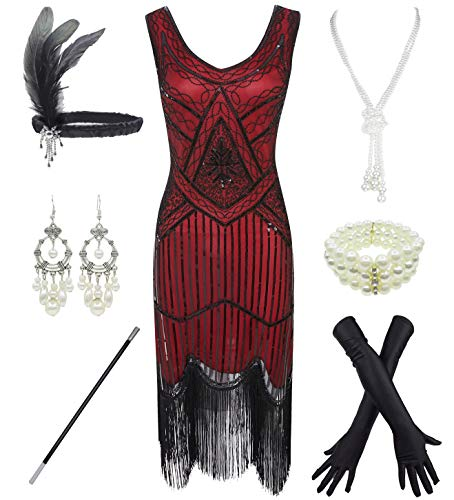 1920S Gatsby Sequin Fringed Paisley Flapper Dress with 20S, Red, Size ()