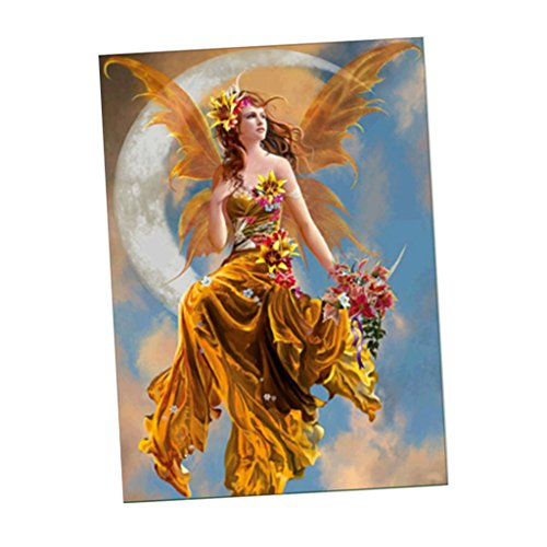 Fenteer 5D 手作りダイヤモンド 絵画 ラインストーン 蝶翼の天使 貼れる ホームの装飾
