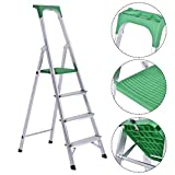 Giantex Folding 4 Step Ladder Aluminum Non-Slip Work Stool Platform 330Lbs Load Capacity, Green