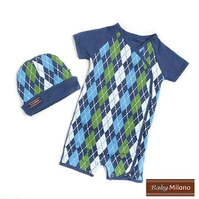 Baby Milano Blue Argyle- Hat & Body Suit