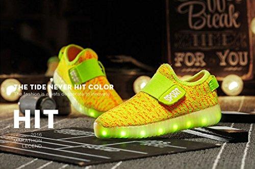 Honeystore Unisex 7 Farbe Farbwechsel USB Aufladen LED Leuchtend High-Top Sport Schuhe Hoch Sneaker Turnschuhe Gelb