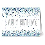 24 Note Cards - Blue Confetti Birthday - Blank Cards - Gray Envelopes Included