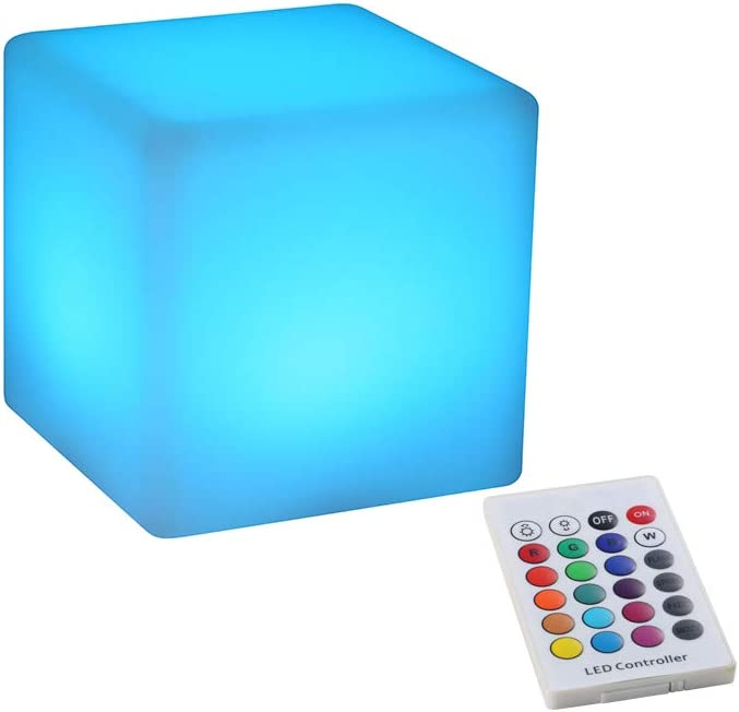 BLUEYE 4-Inch Cordless LED Cube Night Light, 16 Colors & Remote Control & Waterproof IP44, Kids Portable LED Lantern with Folded Handle: Home & Kitchen