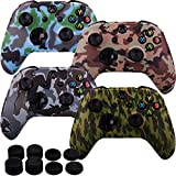 xbox controller board - MXRC Silicone rubber cover skin case anti-slip Water Transfer Customize Camouflage for Xbox One/S/X controller x 4(green & brown & grey & blue) + FPS PRO extra height thumb grips x 8