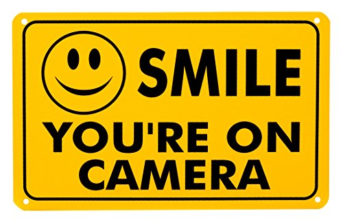 "Smile You're On Camera Rust Free Outdoor Waterproof Fade Resistant UV Protective Ink Video Surveillance Security Sign Yellow and Black Video CCTV 11""x 7"""
