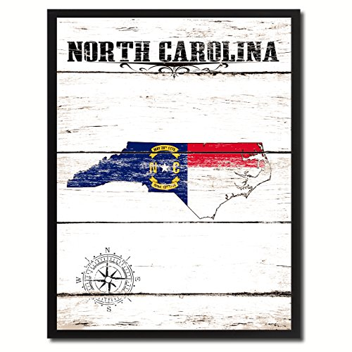 North Carolina State Vintage Flag Canvas Print Black Picture Frame Gift Ideas Home Decor Wall Art Decoration Gift Ideas