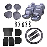 Scitoo 16-PCS Car Floor Mats W/Trunk Liner Black/Gray Mesh Car Seat Covers W/Belt Pads/Steering Wheel Cover for Heavy Duty Vans Trucks