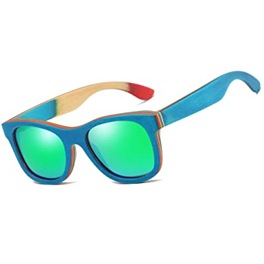 033b61d2d14 KITHDIA Men Women Polarized Skateboard Wood Sunglasses-EZ033  Amazon ...