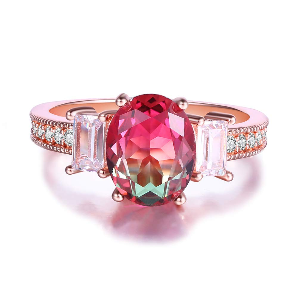 Oval-Shape Watermelon Red Green Gradient Crystal Solitaire Rings for ...