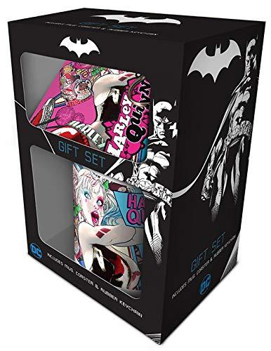 DC Comics GP85149 Harley Quinn Mug Coaster and Keychain Set, Multi-Colour]()