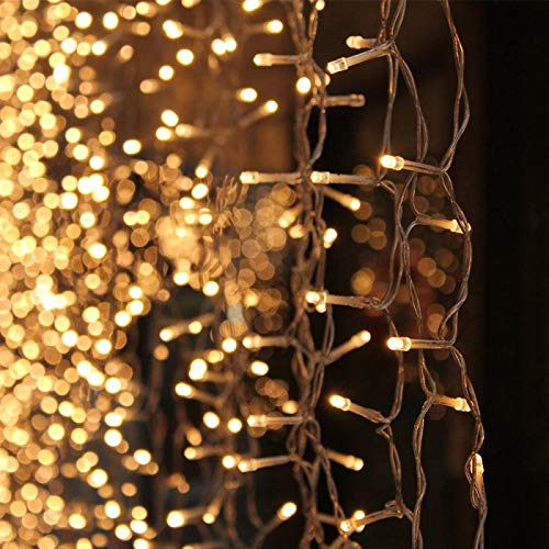 308 LED 9.8ft x 9.8ft Window Curtain String Light 8 Lighting Modes Light Wedding Party Home Garden Bedroom Outdoor Indoor Wall Decorations, Warm White - Lighting Window