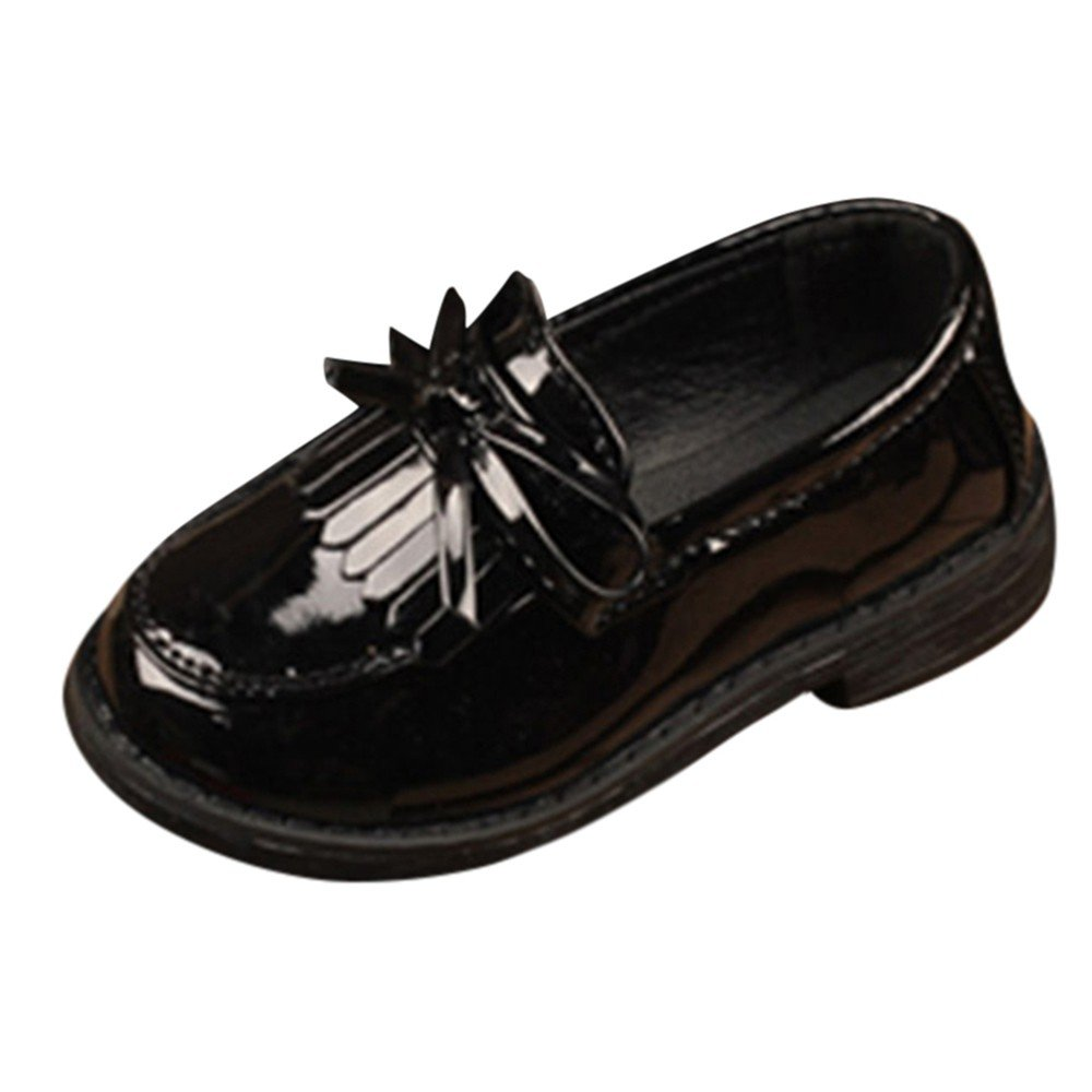 LIKESIDE Kid Girl Solid Bowknot Tassel Leather Formal Party Wedding Shoes