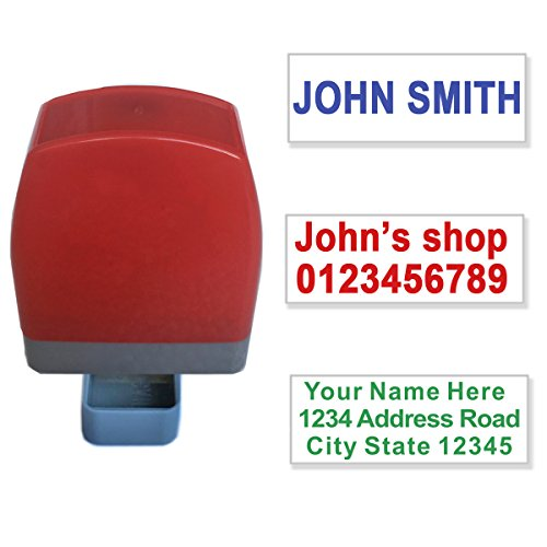 Custom Self Inking Rubber Stamp Customize Name Address Pre-inked Stamp. 1 to 3 lines. 8 Colors.