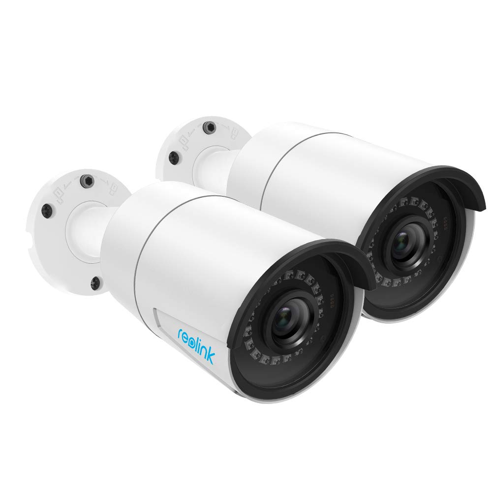 Reolink 5MP PoE Camera (Pack of 2) Outdoor Indoor Video Surveillance Home IP Security IR Night Vision Motion Detection Audio Support w/SD Card Slot RLC-410-5MP