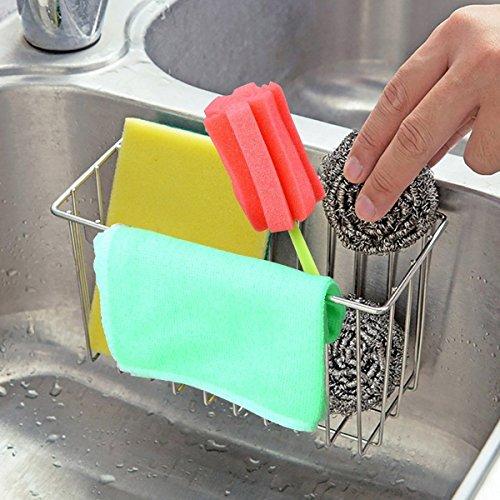 SANNO Kitchen Sink Sponge Holder,In Sink Caddy Utensil Holder Brush Soap Dish washing Organizer Tray Liquid Drainer Rack - Stainless Steel by SANNO (Image #5)