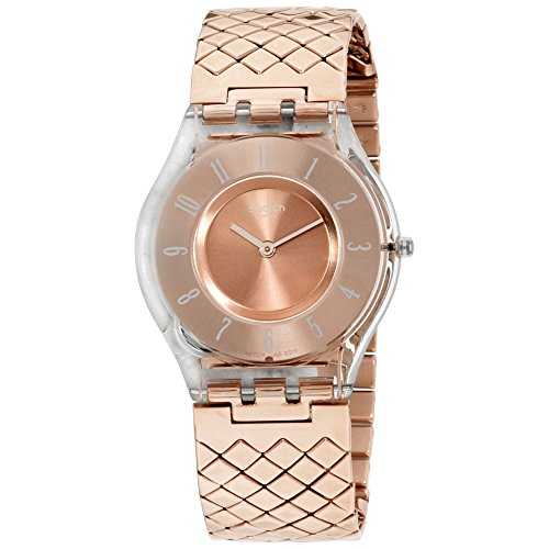 Swatch Quartz Movement Rose Gold Dial Ladies Watch SFE110GB (Swatch Gold Watch Band Small)