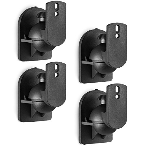 WALI Speaker Wall Mount Brackets Multiple Adjustments for Bookshelf, Surrounding Sound Speakers, Hold Up to 7.7lbs, (SWM402), 4 Packs, Black