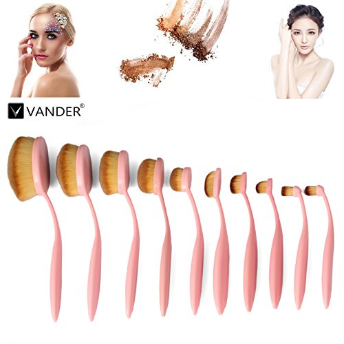 10pcs Pink Oval Toothbrush Makeup Brush Sets BB Cream Contour Powder Concealer Foundation Eyeliner Puff Brushes Cosmetics - Face Oval