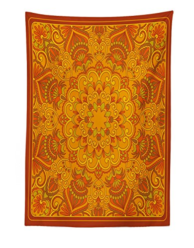Lunarable Ethnic Tapestry, Middle Eastern Old Fashioned Carpet Pattern Inspired Retro Oriental Image, Fabric Wall Hanging Decor for Bedroom Living Room Dorm, 30 W X 45 L inches, Marigold Orange Green ()
