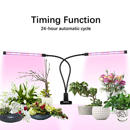 LED Grow Light Bulb for Indoor Plants,Teeke 20W LED 10 Dimmable Levels Plant Grow Lights with Sun-Like Full Spectrum, Cycle Timing, Adjustable Dual Head Goose-Neck, 3 Time Switch Modes ()