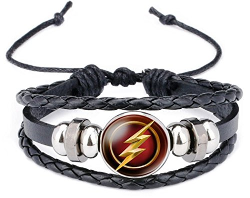 The Flash Glass Domed Logo on Braided Black Leather ()