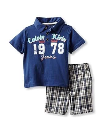 Calvin Klein Baby Boy's Polo Shirt With Plaid Shorts, Blue, 12 Months