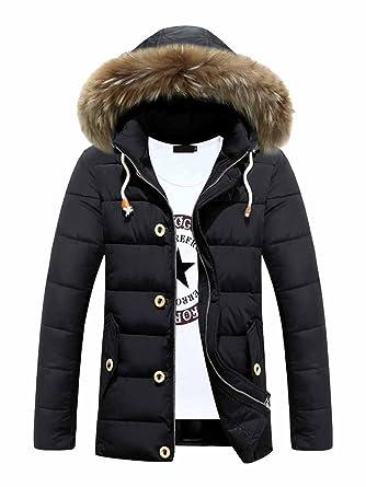 OCHENTA Men's Faux Fur Hooded Jacket Winter Slim Parka Coat at ...