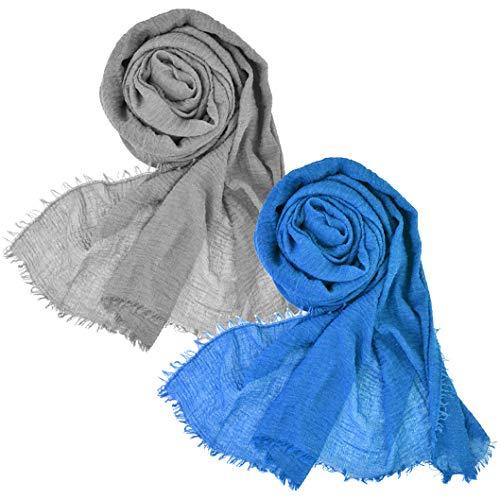 Wobe 2pcs Women Soft Cotton Hemp Scarf Shawl Long Scarves, Travel Sunscreen Pashmina Fancy Stylish Hijab Scarf Lightweight Warm Big Head Scarves Muslin Pure Color Blue and Light Grey