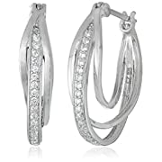 Amazon #LightningDeal 92% claimed: Platinum Plated Sterling Silver Cubic Zirconia Triple U Shape Interlocking Hoop Earrings (0.74 Diameter)