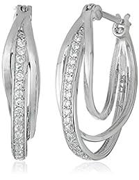 """Platinum Plated Sterling Silver Cubic Zirconia Triple """"U"""" Shape Interlocking Hoop Earrings (0.74"""" Diameter)"""