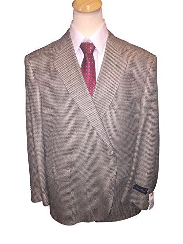 Palm Beach 52 Long Big and Tall Silk Wool Blend Cream Black Check Sport Coat USA Made 52L (Cream Black Check, 52 Long)