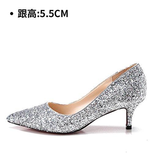 alto Zapatos zapatos cristal boda Zapatos 5CM noche hembra Tacones botas tacón HUAIHAIZ de zapatos los Silver novia mujer de 5 de de ax8qwPO