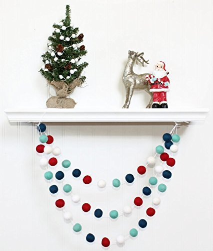 Amazon Com Winter Felt Ball Garland Pom Pom Garland Christmas