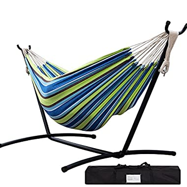 Lazy Daze Hammocks Double Hammock With Space Saving Steel Stand Includes Portable Carrying Case, 450 Pound (Green Stripe)