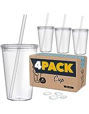 Marfrand harde plastic beker met deksel en rietje, BPA-vrij, incl. herbruikbare stickers en e-book voor cocktails, set met 4 herbruikbare kunststof glazen, 700 ml (transparant)