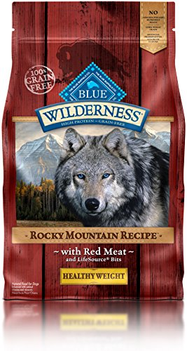 Blue Buffalo Wilderness Rocky Mountain Recipe High Protein Grain Free, Natural Adult Healthy Weight Dry Dog Food, Red Meat 4-lb