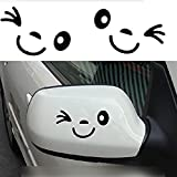 Yonger 2 X Cute Smile Face 3D Decal Sticker for Auto Car Side Mirror L+R Rearview (A)