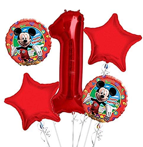 Mickey Mouse Balloon Bouquet 1st Birthday 5 pcs - Party Supplies]()