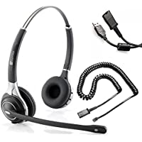 Premium Double Ear Ultra Noise Canceling Call Center / Office Headset With U10 and USB Cable For Cisco 7931, 7940, 7960, 7961, 7962, 7970, 7971, 7975 or into PC or Softphone VIA USB Cable
