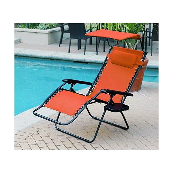 Jeco Oversized Zero Gravity Chair with Sunshade and Tray - Orange