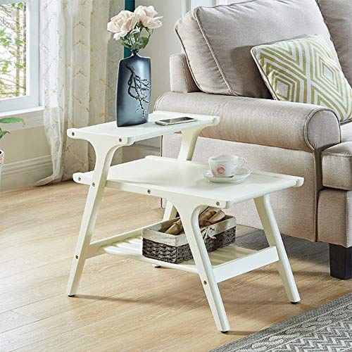 (Jazi Shelf Laptop Table Solid Wood Side Table 3 Tier Trapezoidal Coffee Table Home, Bedroom and Office Bedside Frame Color Optional Drop-Leaf Table,A)