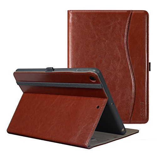 New iPad 2017 9.7 Case,BOBOLEE Vintage Folio Flip Leather Case with Stand Feature, Smart Cover Auto Sleep / Wake Function for Apple iPad 9.7-inch 5th generation (Brown)