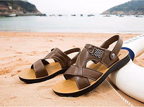 Männer Sandalen Sommer Echtleder Strand Schuh Freizeit Schuh Das neue Echtleder Dicker Boden Rutschfest Sandalen Männer Schuh ,Khaki,US=8,UK=7.5,EU=41 1/3,CN=42