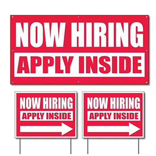 "Cheap 'Now Hiring - Apply Inside' 2'x4' (1) Banner & 18""x24"" (2) Sign Set for sale"