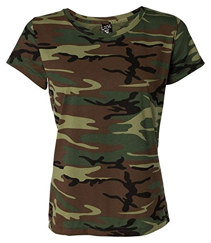 Code V Women's Camouflage Ribbed Topstitched T-Shirt, Green Woodland, - Woodland Ribbed Jersey
