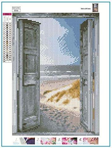 Ikavee D/écoration murale Peinture diamant 5D Broderie diamant Effet de porte ouvert