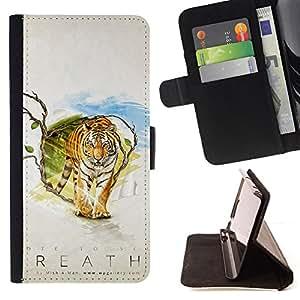 KingStore / Leather Etui en cuir / Samsung Galaxy S4 Mini i9190 / Tiger Aliento