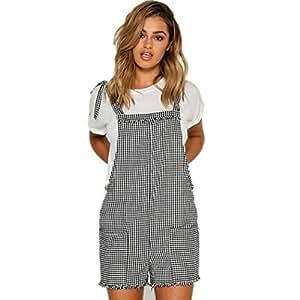 f018338b2707 Amazon.com  WuyiMC Women s Strap Overall Casual Bib Stripe Pocket ...